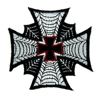 Spider Web Iron Cross Patch Iron on Applique Occult Clothing