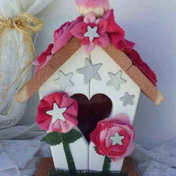 Summer Sale Pink Camo Home Decor, Pink Camo & Silver Star Birdhouse, Pink Gifts for her, Pink Camo gifts, Housewarming gift, Camouflage gift