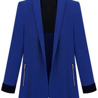 Contrast Shawl Collar Fitted Blazer - OASAP.com