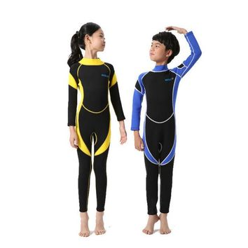 DCCKHG7 2017 New Wetsuit for Kids Boys Girl One Piece Swimsuit Diving Suits Long Sleeves Boys Girls Surfing Children Rash Guards Snorkel