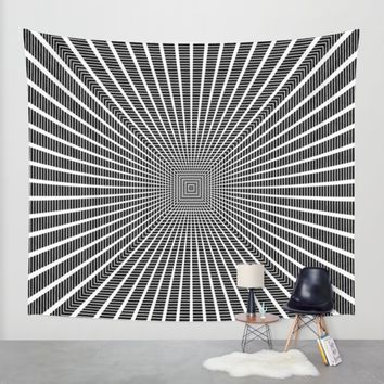3D Room - White On Black Wall Tapestry by Moonshine Paradise | Society6