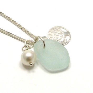Sea Glass, Tree of Life Charm, Swarovski Pearl, Wedding Jewelry, Beach Necklace, Sea Glass Necklace