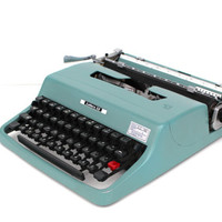 Working typewriter Olivetti Lettera teal blue good working condition vintage lightweight portable new ribbon portable vintage office decor