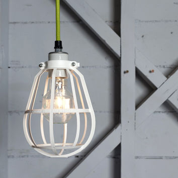 Industrial Modern Pendant - White Cage Light