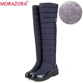 MORAZORA New arrival Russia keep warm snow boots fashion platform fur over the knee boots warm winter boots for women shoes