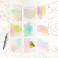 Nine small watercolor art prints  4 x 6 inches each, abstract wall art,  poster, modern, painting, colourful, decor,
