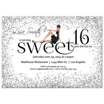 Modern Silver Sparkly Glitter Sweet 16 Birthday Party Invitation