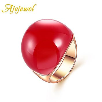 Size 7-9 Ajojewel Brand Red/Orange/Yellow/Dark Green Stone Ring For Women Luxury Big Semi-precious Stone Rose Gold Color Jewelry