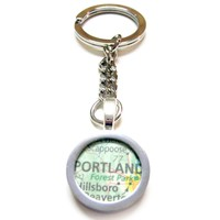 Portland Oregon Map Pendant Keychain