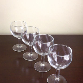 Clear Cordial Glasses, Wine Tasting Glasses, Barware, Small Stemmed Glass, Sherry Glass, Shot Glass, Set of 4 Mini Wine Glasses