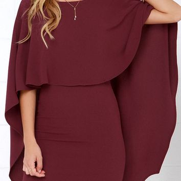 Burgundy Cape Overlay V Back Mini Dress