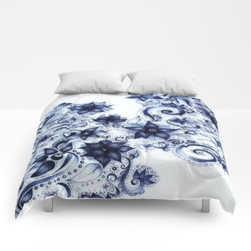 Ballpoint Florals Comforters by DuckyB