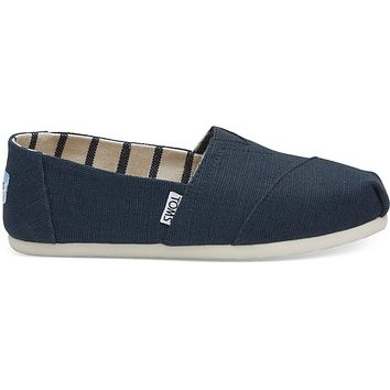 TOMS - Women's Classics Venice Collection Majolica Blue Heritage Canvas Slip-Ons