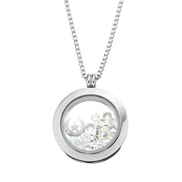 Blue La Rue Crystal Stainless Steel 1-in. Round Star & Moon Charm Locket - Made with Swarovski Elements (Grey)