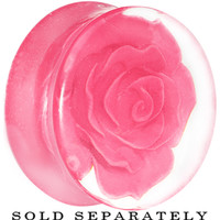 24mm Clear Acrylic Pink Floating Rose Saddle Plug | Body Candy Body Jewelry