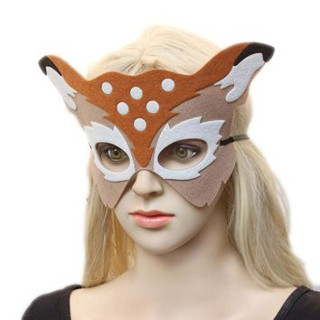 Yellow Spot Fox Head Felt girls Headwear half Face Adult Breathable Halloween Masquerad Party Cos Costume Animal Mask A20