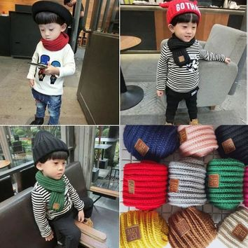 Cute Cotton Winter Baby Scarf Boys Girls Kids Kids Solid Color O-neck Knitted Wool Scarves Scarf Warm bandana