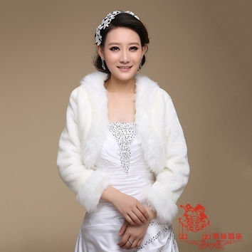 Women Long sleeves Faux Fur Collar Cape Short Coat Jacket Shawls Wedding Bridal Bolero Shrug white (Color: White) = 1932270532