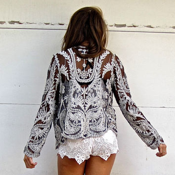 Embroidered Sheer Bohemian Boho Gypsy Blazer Floral Hippie Cardigan