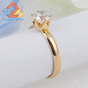 Fashion Female Ring Top Sale Unique Beautiful Rose Gold Color Plated With White Synthetic CZ Rings For Women