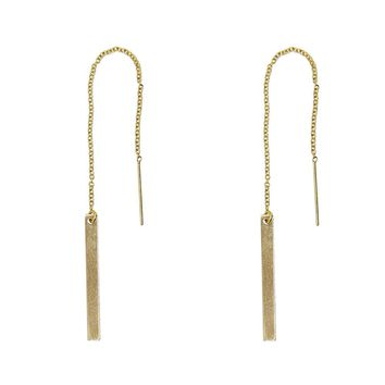 Long Bar Drops Threader Earrings