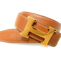 Authentic HERMES Constance Belt Box calf leather Brown x Black Used Vintage