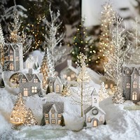 LIT GERMAN GLITTER VILLAGE HOUSES, BENEFITING GIVE A LITTLE HOPE CAMPAIGN