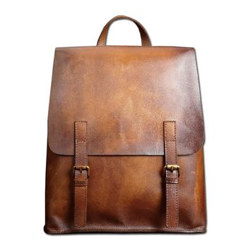 Distressed Genuine Leather Backpack