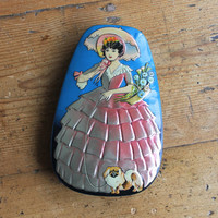 1940's George Horner Toffee Tin, Dainty Dinah Sweets Tin, Southern Belle + Pekinese Pup Embossed Candy Tin