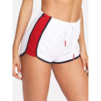 Contrast Panel Side Dolphin Shorts
