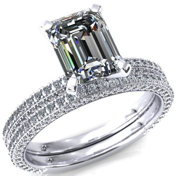 Mariyah Emerald Moissanite 4 Prong 3/4 Eternity 3 Sided Diamond Shank Engagement Ring