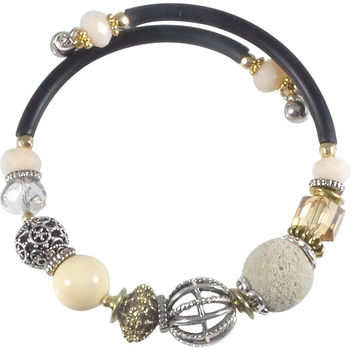 Glass Stone and Charms Memory Wire Wrap Bangle (Ivory)