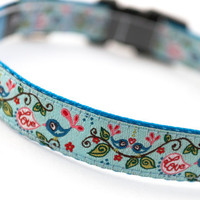 "Dog Collar ""Lovebirds"" - 5/8"" Width - Available in 3 Sizes (XS, S, M)"