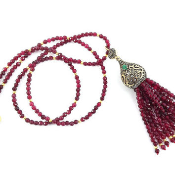 Ethnic Turkish Tassel Necklace Garnet Red Facet Jade Gemstone Statement Gypsy Hippie Bohemian Artisan - One Of A Kind