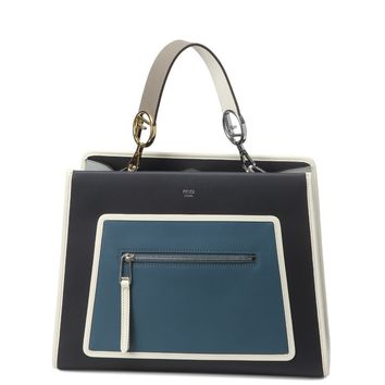 Fendi Shopping Bag Runaway Calf Leather Navy and light blue Handbag 8BH343