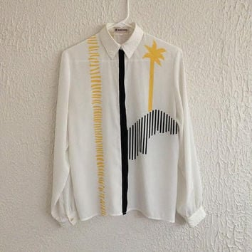 1980s Vintage Serge Nancel Paris - White Button Up Collared Blouse - Retro Miami Vice Style Palm Tree Design