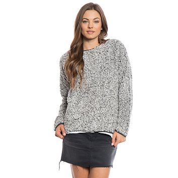 Solid Frosty Tipped Drop Shoulder Crew Sweater in Charcoal by True Grit (Dylan) - FINAL SALE