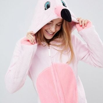 Loungeable Flamingo Pink 3D Onesuit at asos.com