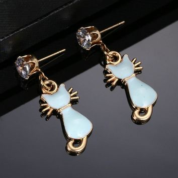 Cat Dangle Earrings With Blue Stone, High Quality CZ And Gold Color Metal Accents