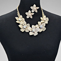 Gold Rhinestone Floral Choker Statement Necklace Set