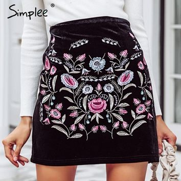 Simplee Embroidery high waist skirts womens bottom Vintage short boho style chic pencil skirt female  autumn sexy mini skirt