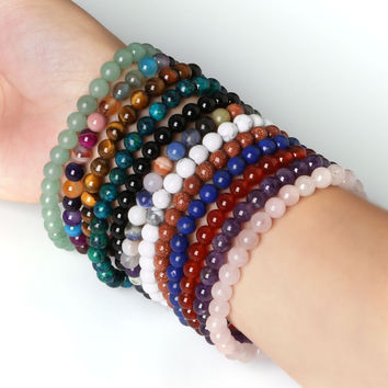 hot sale 6mm Beaded Bracelets Bangles Elastic Rope Chain Natural Stone Beads Friendship Bracelets For Women Men Jewelry
