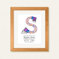 Letter S Cute Art Print, Custom Monogram Name, Art for Kids, Boys Wall Art Hanging, Kids Room Decor, Kids Wall Art, Baby Room Décor