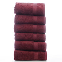 Luxury Hotel & Spa Towel 100% Genuine Turkish Cotton Hand Towels - Cranberry - Bamboo  - Set of 6