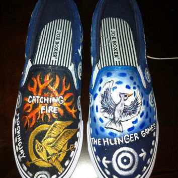 The Hunger Game inspired hand painted Shoes size 8 1/2 or custom made