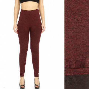 Thermal marled leggings Burgundy One size Fits S-L