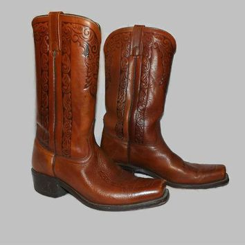 Sale Vintage 70s 80s Mens Tooled Antiqued Brown Leather Square Toe Riding, Motorcycle, Western Boots Size US 9D Made in the USA