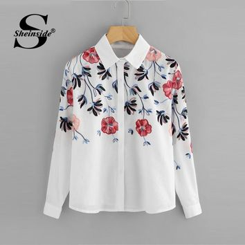 Sheinside White Embroidery Long Sleeve Shirts Floral Button Top Spring Women Office Work Wear Elegant Blouse