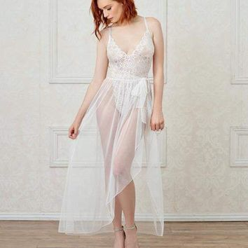 Dreamgirl White Stretch Lace Teddy & Sheer Mesh Maxi Skirt