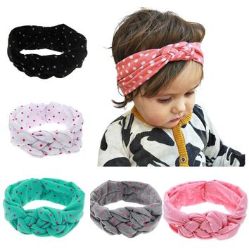 1PC Cute Baby Kids Girl Dot Hairband Turban Children Tie Knot Headband Elastic Girls Hair Band Accessories bandeau bebe KT10